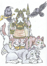 Odin - Odin is the Norse leader of the Aesir, and Leader of Asgard.  He has 2 wolf companions, Geri & Freki, 2 ravens, Hugin and Munin, and a horse named Sleipnir with 8 legs.  He plucked out his right eye for knowledge.  Illustration copyright Norhalla.com.