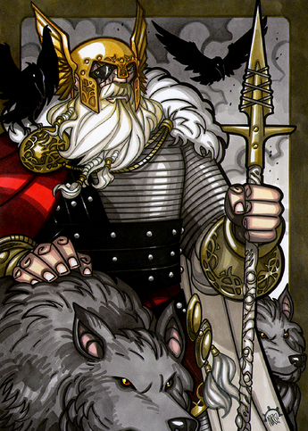Odin - Odin is the Norse leader of the Aesir, and Leader of Asgard.  He has 2 wolf companions, Geri & Freki, 2 ravens, Hugin and Munin, and a horse named Sleipnir with 8 legs.  He plucked out his right eye for knowledge.  Illustration by Nicolas R. Giacondino, copyright Norhalla.com.