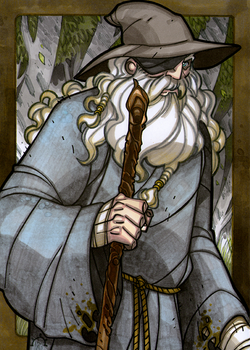 Odin the Wanderer - Odin is the Norse leader of the Aesir, and Leader of Asgard.  Odin travels as a peasant and wanders the nine realms seeking knowledge. When traveling, he uses many names.  Illustration by Nicolas R. Giacondino, copyright Norhalla.com.