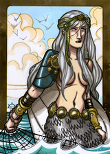"Ran - Ran is wife to Aegir, who are both in mythology referred to as the ""old gods"", older than the Aesir and Vanir.  She rules the seas and has magical net that she uses to bring in treasure from sunken ships.  Illustration by Nicolas R. Giacondino, copyright Norhalla.com."