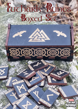 Futhark Runes wood boxed set with a Valknut and ravens engraved on lid. Norhalla.com