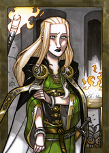 Sigyn - Sigyn is Loki's wife in Asgard.  In mythology, she holds the bowl that catches the venom from the snake that drips onto Loki when Skadi binds Loki to a tree.  Illustration by Nicolas R. Giacondino, copyright Norhalla.com.