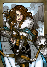 Skadi - Skadi is daughter of the Jotun, Thjazi (whom the Aesir kill). After her father's death, in anger she stands at the gates of Asgard in full armor demanding someone come out to fight her.  Illustration by Nicolas R. Giacondino, copyright Norhalla.com.