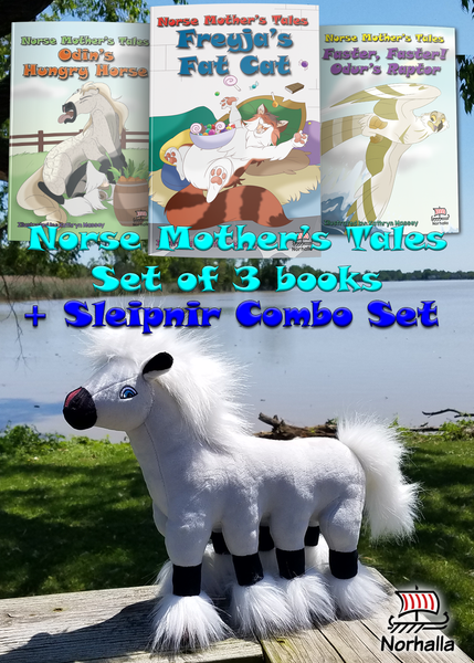 Buy a set of three Norse Mother's Tales children's book together with Sleipnir plush ancestor!