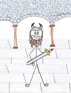 Vali - In traditional Norse mythology, Vali is Odin and Rindr's son born for the exclusive purpose of killing Hodur as revenge for killing Baldur.  Illustration for Norse, of Course! by Kristin Valkenhaus, copyright Norhalla.com.