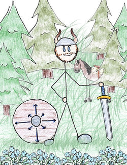 Vidar - Vidar is one of Odin's sons. In traditional Norse mythology, Odin tells Vidar of future events to come of Ragnarok. Vidar slays Fenrir during Ragnarok after Odin dies.  Illustration for Norse, of Course! by Kristin Valkenhaus, copyright Norhalla.com.