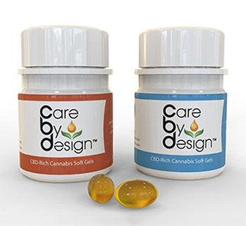 CBD Rich Cannabis Soft Gels - Care By Design (award winner - 5 per bottle - 2 types)