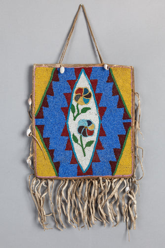Plateau Beaded Bag with Geometrics and Poppies, c. 1920