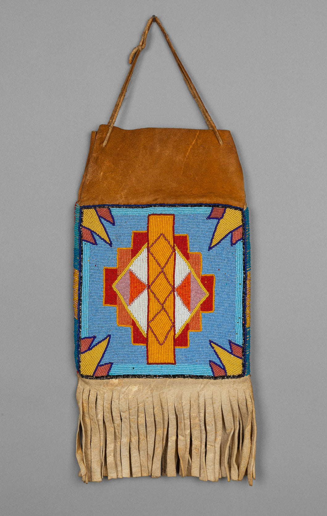 Two Sided Plateau Beaded Bag with Geometric Designs, c. 1950