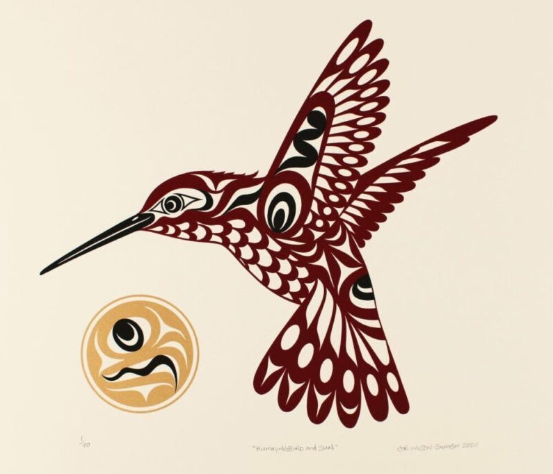 Hummingbird and Sun by Joe Wilson, Coast Salish