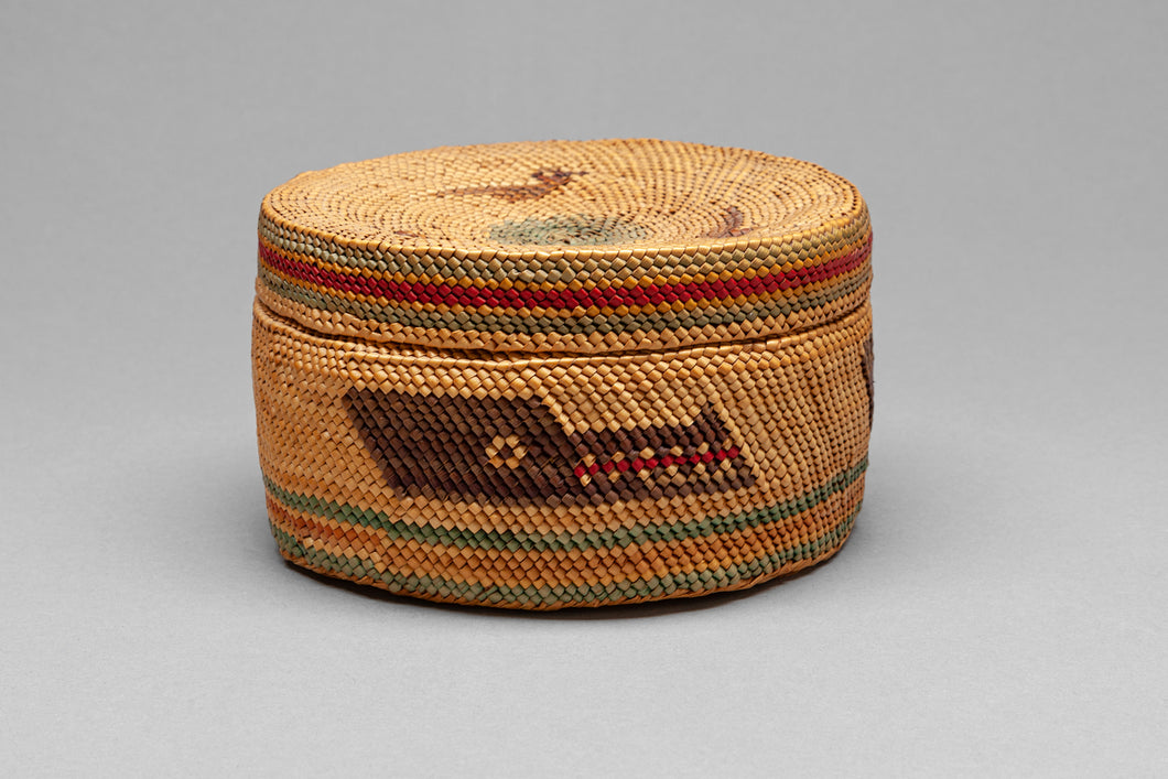 Historic Lidded Makah Basket with Wolf Headdress Designs, c. 1920