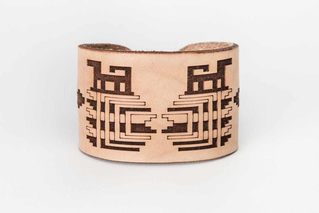 Skokomish Basket Design Leather Bracelet by Ruth Wilbur Peterson