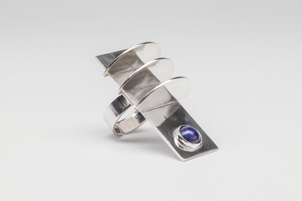 Long Geometric Ring with Lapis by Alberto Lenz, Mexico
