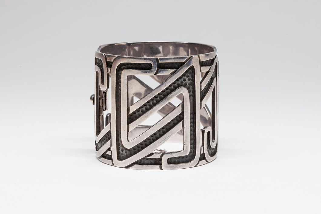 Vintage Hinged Cuff Bracelet by Margot de Taxco, Mexico