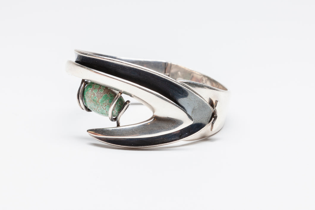 Modernist Hinged Bracelet in Boomerang Design by Sigi Piñeda, Mexico