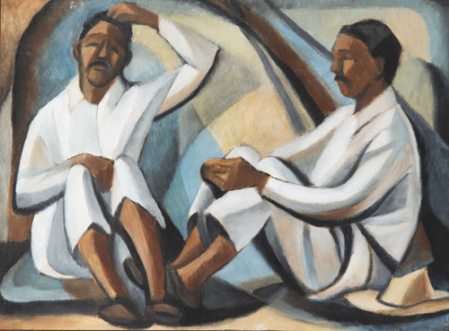 Hombres Sentado (Seated Men), c. 1960 by Nora Unwin (1907-1982)