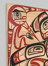 Panel depicting Raven and Sky People, 2016 by David A. Boxley, Alaskan Tsimshian