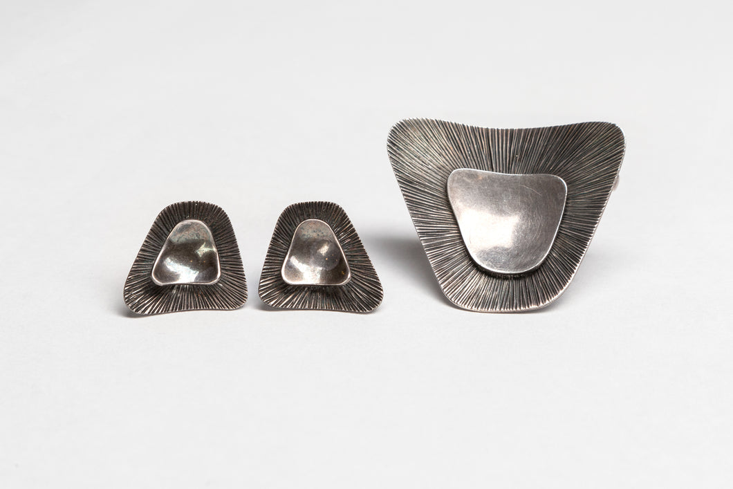 Modernist Brooch and Clip Earrings, c. 1960, by Borrensen and Lassen, Denmark