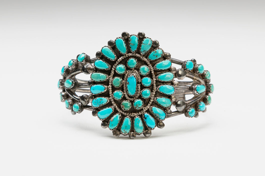 Turquoise Cluster Bracelet by Leonard and Lula Weebothee, Zuni