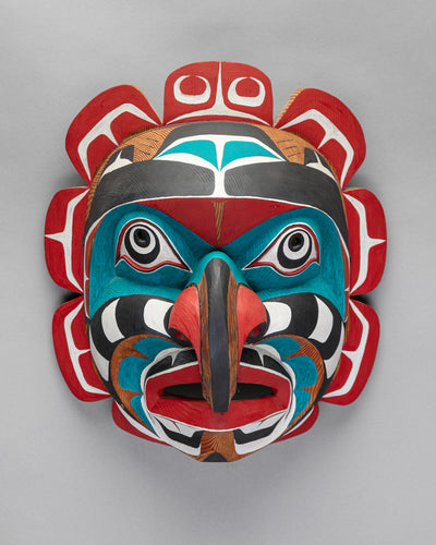Mask depicting Komokwa - Chief of the Sea, c. 1980 by Lelooska (1933 - 1996)