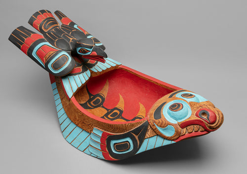 Large Halibut Feast Dish with Raven, c. 1980 by Lelooska (1933 - 1996)