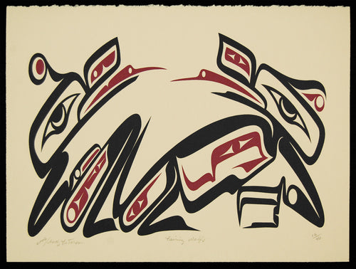 Pairing Wolves, Silkscreen by Andy Wilbur Peterson, Skokomish Nation