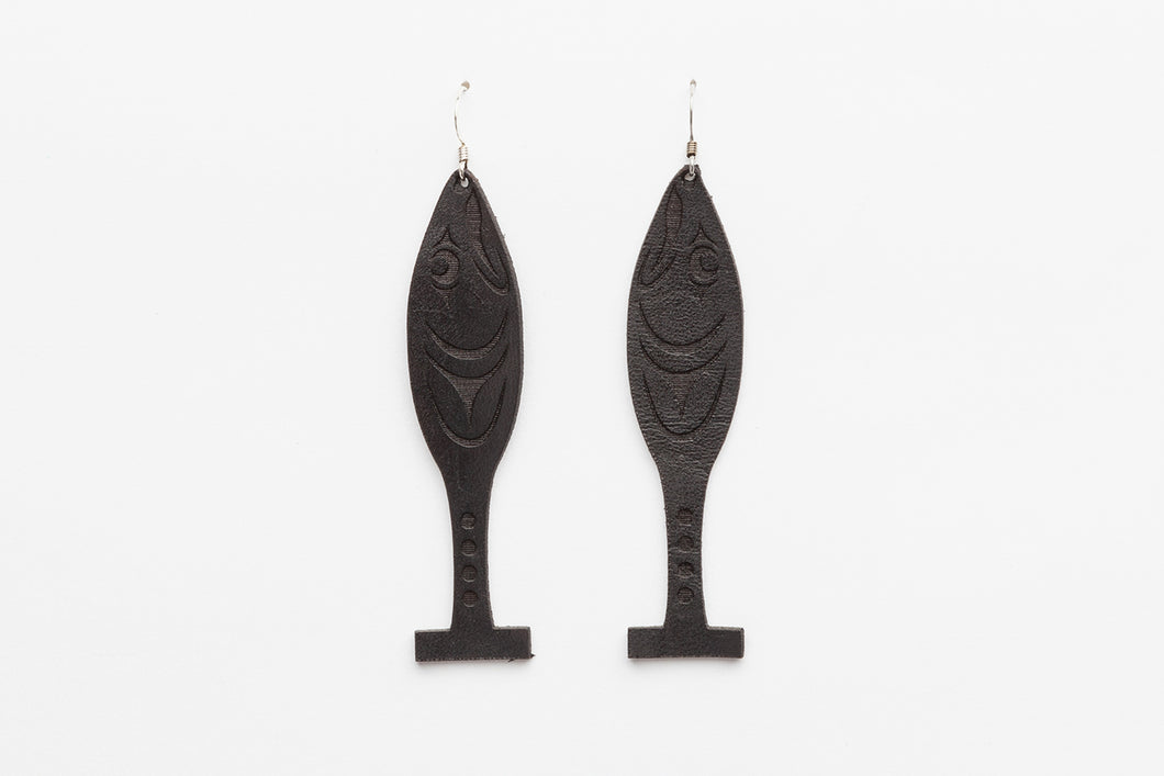 Copy of Leather Canoe Paddle Earrings by Ruth Wilbur Peterson