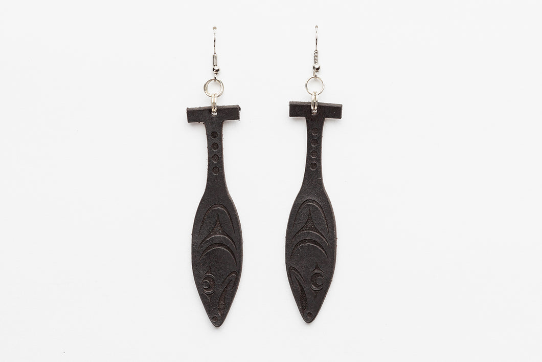 Leather Canoe Paddle Earrings by Ruth Wilbur Peterson