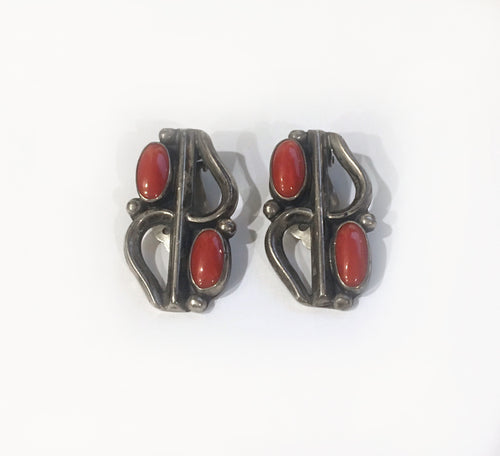 Vintage Mediterranean Coral Clip Earrings, c. 1940, Navajo Nation