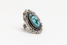 Traditional Hand Stamped Turquoise Ring by Hank Vanderver, Navajo