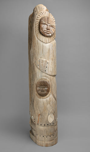 Large Drummer and Dancers Whalebone Sculpture by Harry Al Ningealook, Inupiaq