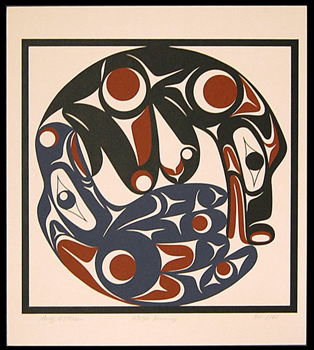 Wolf's Journey, Silkscreen by Andy Wilbur Peterson, Skokomish Nation