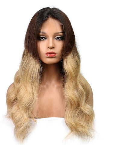 Shella Ombre Lace Front Body Wave Color 1B/4/27 Brazilian Remy Hair with Baby Hair