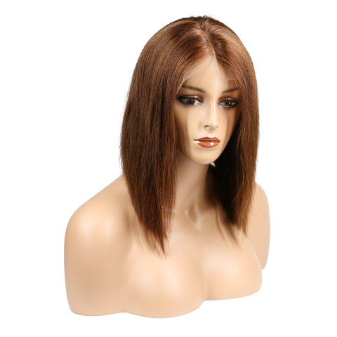 Color 4 #4 Brazilian Remy Hair Lace Front Human Hair Wig short Bob