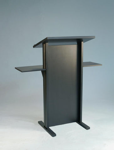 Standard Black Melamine Lectern with External Shelves