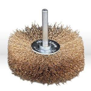 "95600 Jaz USA Wire Wheel Bench Brush,3"" Stem-Mounted Crimped,.012"",Steel"