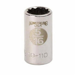 Armstrong 10-108 Standard Length Drive Socket, Imperial, 1/4 in 12 Point Socket, 1/4 in Square Drive