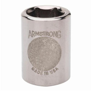 Armstrong 11-022 Standard Length Drive Socket, Imperial, 11/16 in 6 Point Socket, 3/8 in Square Drive