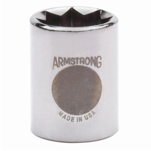 Armstrong 12-422 Standard Length Drive Socket, Imperial, 11/16 in 8 Point Socket, 1/2 in Square Drive