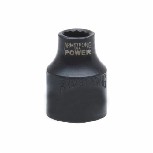 Armstrong 19-114 Standard Length Drive Socket, Imperial, 7/16 in 12 Point Socket, 3/8 in Square Drive