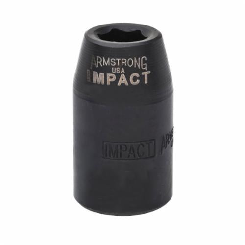 Armstrong 20-022 SAE Standard Length Impact Socket, 11/16 in Socket, 1/2 in Drive, 1.496 in OAL, High Alloy Steel