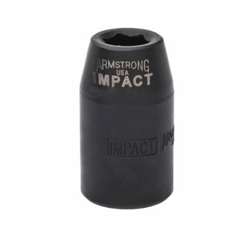 Armstrong 20-024 SAE Standard Length Impact Socket, 3/4 in Socket, 1/2 in Drive, 1.614 in OAL, High Alloy Steel