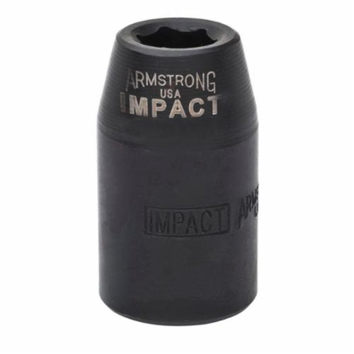 Armstrong 20-046 SAE Standard Length Impact Socket, 1-7/16 in Socket, 1/2 in Drive, 2.187 in OAL, High Alloy Steel