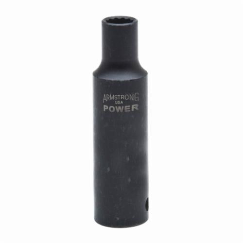 Armstrong 20-312 Deep Length SAE Impact Socket, 3/8 in Socket, 1/2 in Drive, 3.185 in OAL, High Alloy Steel, 12 Points