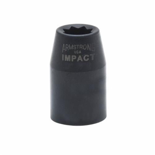 Armstrong 20-428 SAE Standard Length Impact Socket, 7/8 in Socket, 1/2 in Drive, 1-1/2 in OAL, High Alloy Steel