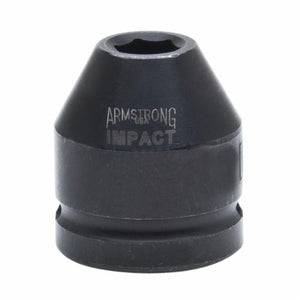 Armstrong 21-026 SAE Standard Length Impact Socket, 13/16 in Socket, 3/4 in Drive, 1.907 in OAL, High Alloy Steel