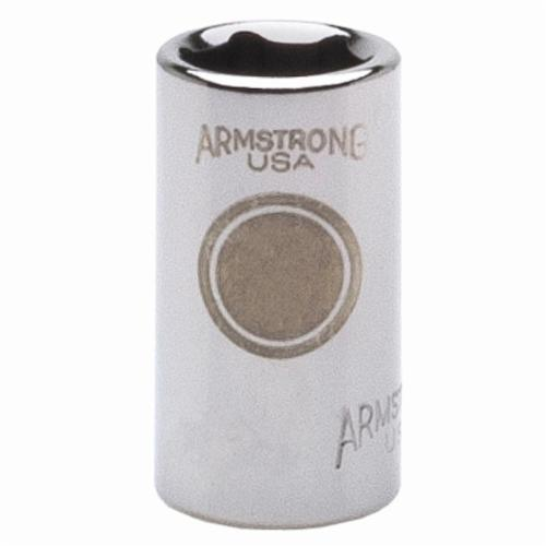 Armstrong 38-022 Standard Length Drive Socket, Metric, 22 mm 6 Point Socket, 3/8 in Square Drive