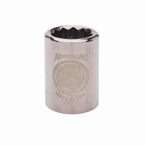 Armstrong 38-108 Standard Length Drive Socket, Metric, 8 mm 12 Point Socket, 3/8 in Square Drive