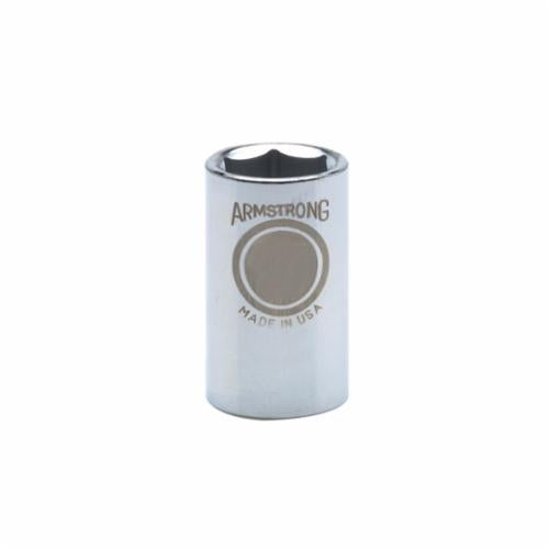 Armstrong 39-016 Standard Length Drive Socket, Metric, 16 mm 6 Point Socket, 1/2 in Square Drive
