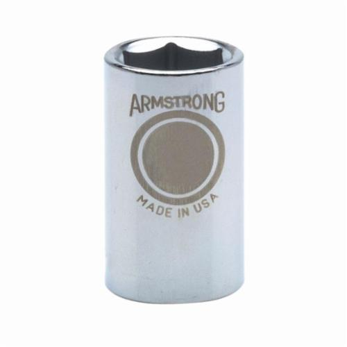Armstrong 39-015 Standard Length Drive Socket, Metric, 15 mm 6 Point Socket, 1/2 in Square Drive